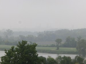 St Louis skyline almost invisible